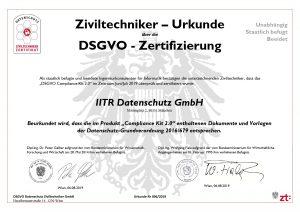 Ziviltechniker-Urkunde über ide DSGVO-Zertifizierung